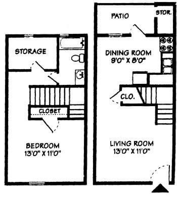 One Bedroom Townhome ...